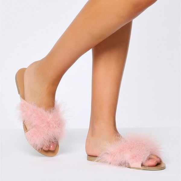 Pink Furry Women's Slide Sandals Open Toe Flats US Size 3-15 image 5