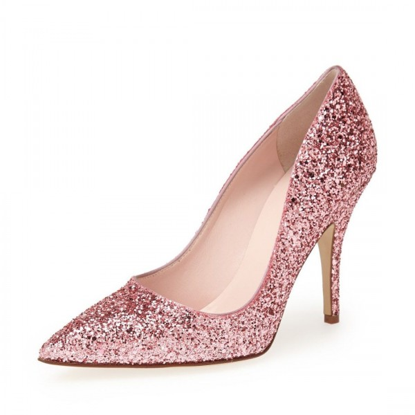 Pink Glitter Shoes Pointy Toe Stiletto Heel Pumps image 1