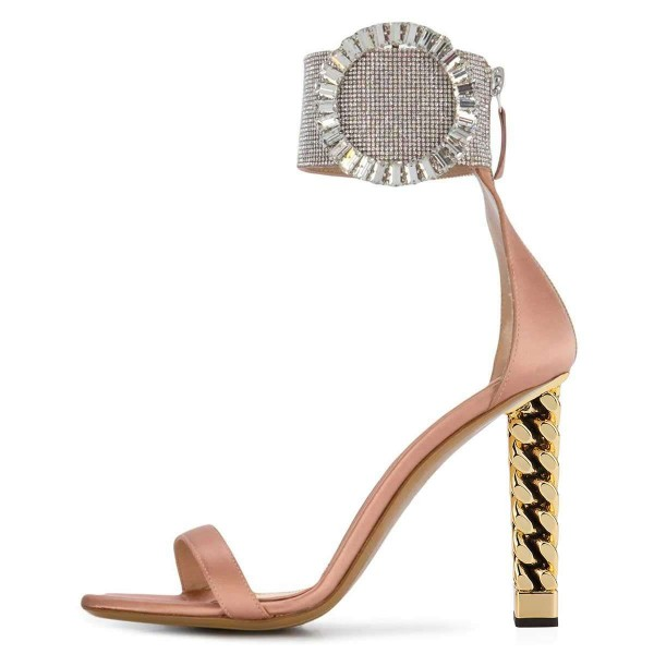 Pink Metal Lace Chunky Heel Sandals by FSJ image 3