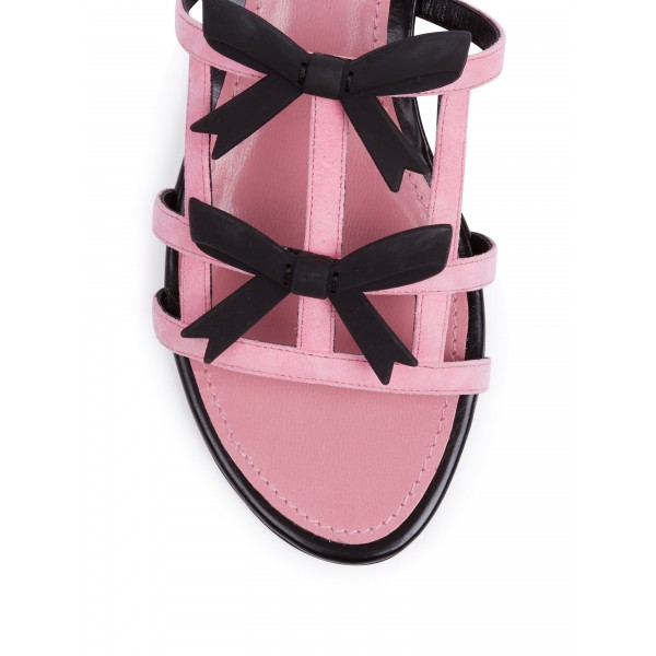 Pink Cute Suede Women's Slide Sandals Open Toe Flat Black Bow Sandals image 2