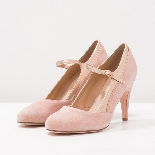 Pink Mary Jane Shoes Round Toe Pumps