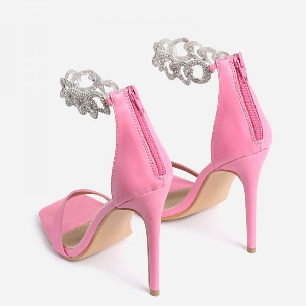 Pink Stiletto Heels Silver Shining Chains Open Toe Ankle Strap Sandals image 4