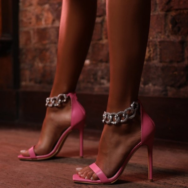 Pink Stiletto Heels Silver Shining Chains Open Toe Ankle Strap Sandals image 3