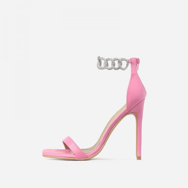 Pink Stiletto Heels Silver Shining Chains Open Toe Ankle Strap Sandals image 2