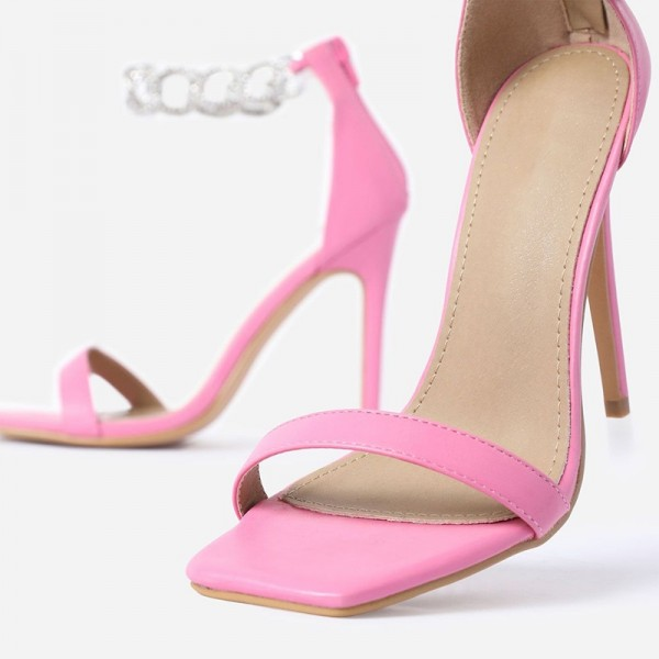 Pink Stiletto Heels Silver Shining Chains Open Toe Ankle Strap Sandals image 5