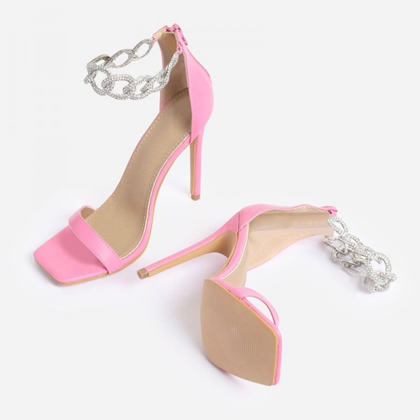 Pink Stiletto Heels Silver Shining Chains Open Toe Ankle Strap Sandals image 6
