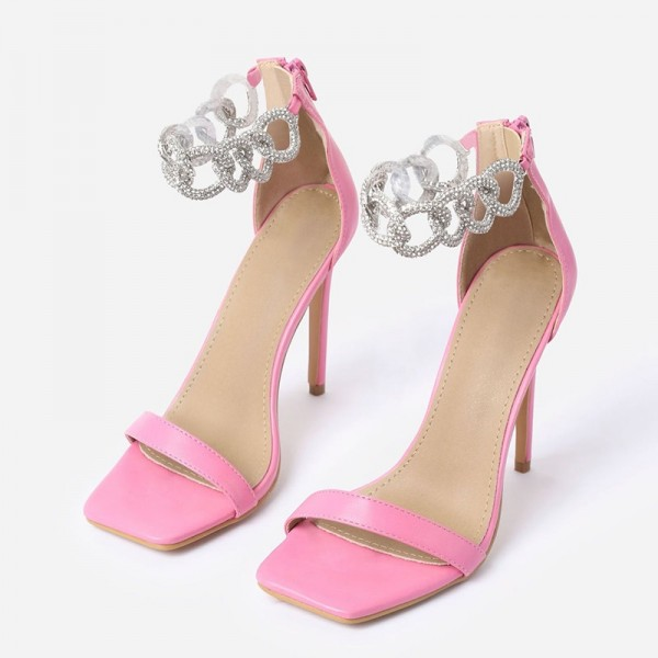 Pink Stiletto Heels Silver Shining Chains Open Toe Ankle Strap Sandals image 1