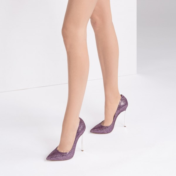 Purple Sparkly Glitter Shoes Pointy Toe Stiletto Heels Pumps image 2