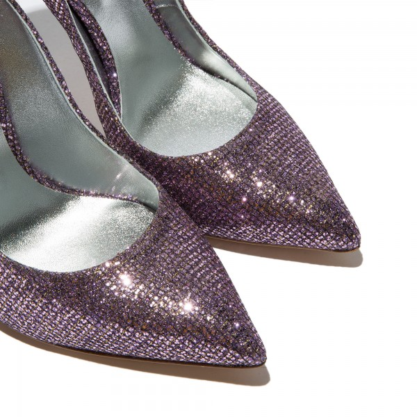 Purple Sparkly Glitter Shoes Pointy Toe Stiletto Heels Pumps image 4