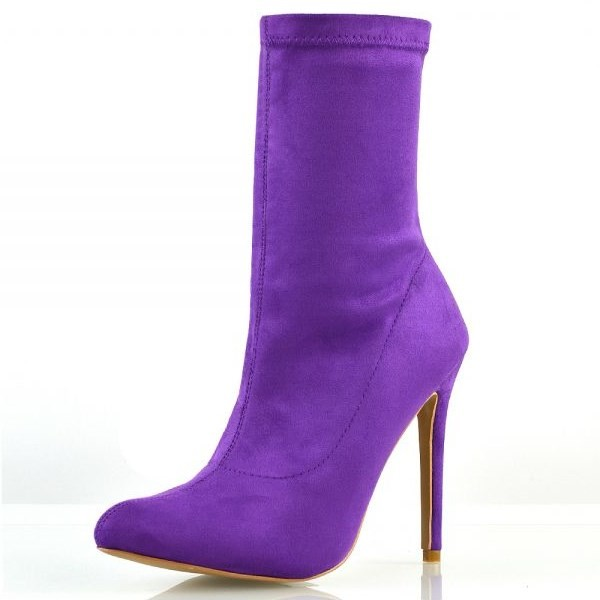 Purple Suede Sock Boots Closed Toe Stiletto Heel Fashion Ankle Booties image 2