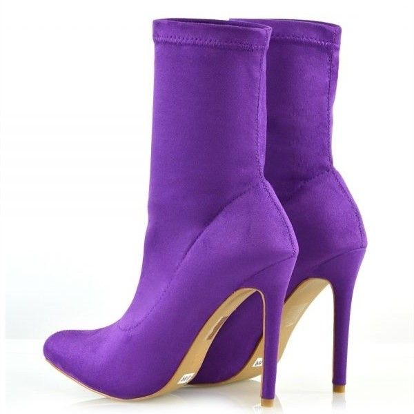 Purple Suede Sock Boots Closed Toe Stiletto Heel Fashion Ankle Booties image 4