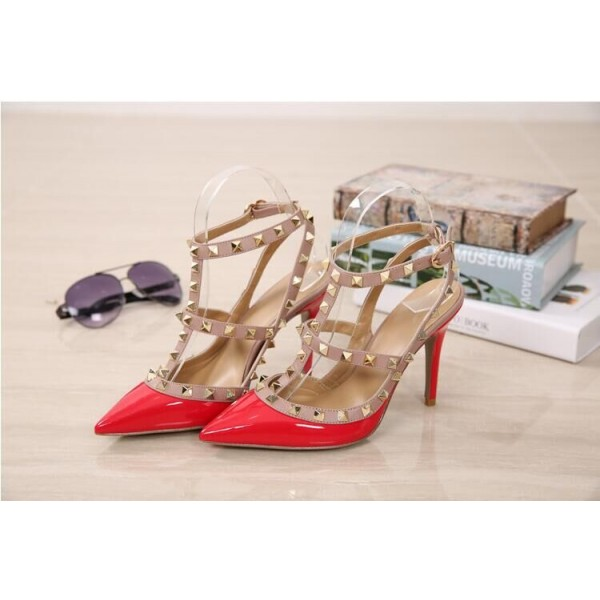 Red Studded T Strap Heels Patent Leather Stiletto Heel Pumps image 2