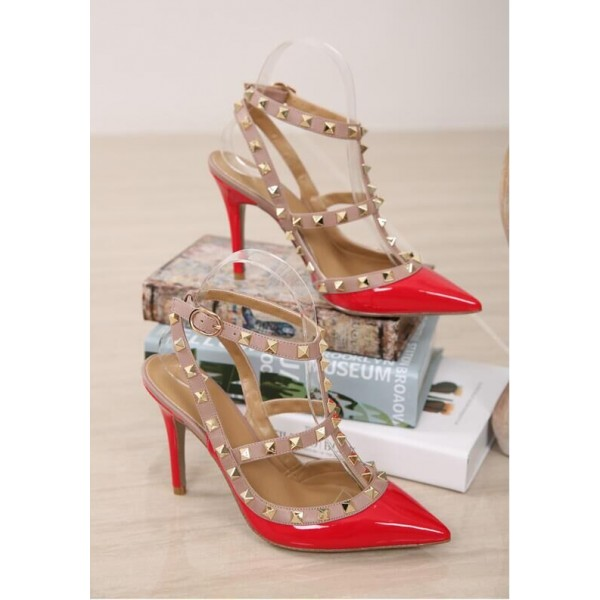 Red Studded T Strap Heels Patent Leather Stiletto Heel Pumps image 3