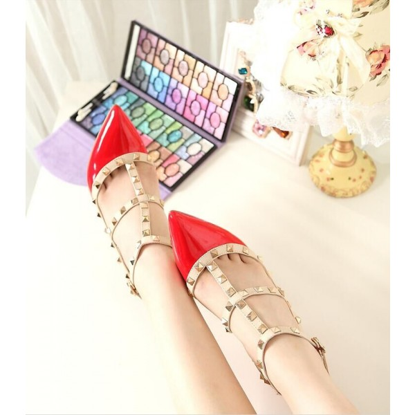 Red Studded T Strap Heels Patent Leather Stiletto Heel Pumps image 4