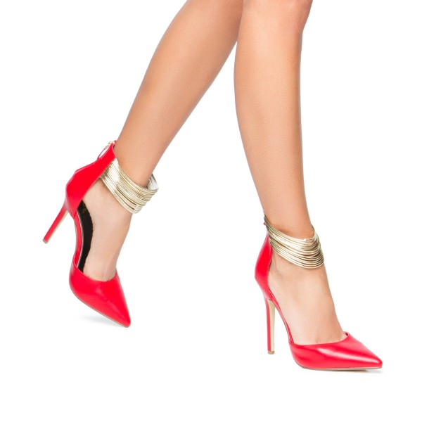 Coral Red Gold Ankle Strap Heels Pointed Toe Stiletto Heels Pumps image 4