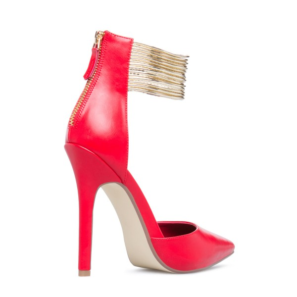 Coral Red Gold Ankle Strap Heels Pointed Toe Stiletto Heels Pumps image 5