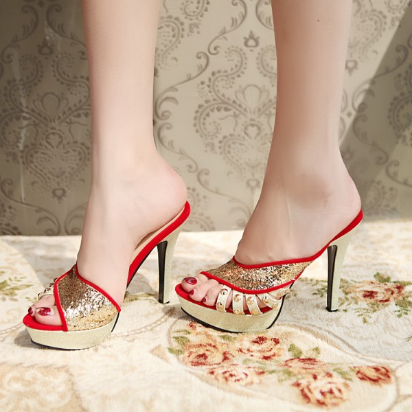 Red and Gold Glitter Shoes Open Toe Mules Sandals with Platform  image 1