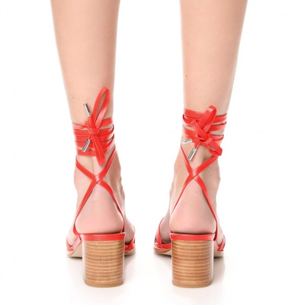 Red Block Heel Sandals Open Toe Slingback Strappy Sandals image 3