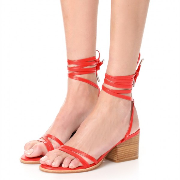 Red Block Heel Sandals Open Toe Slingback Strappy Sandals image 1