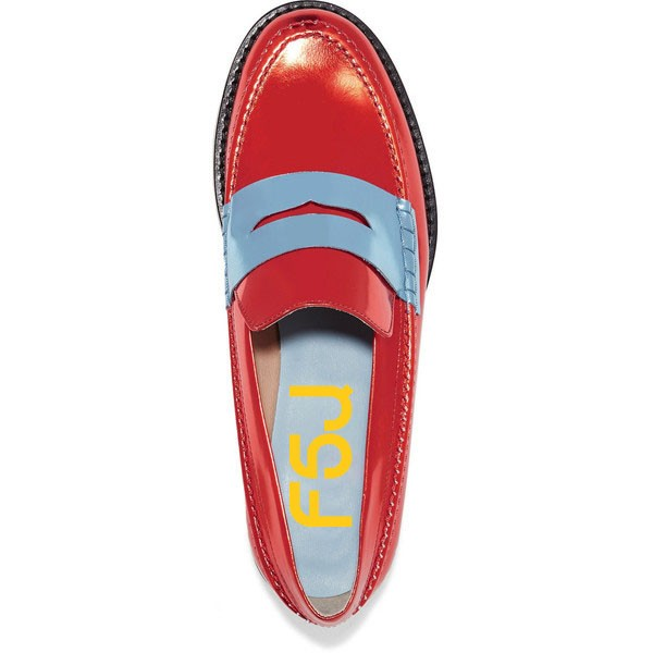 Red Shiny Vegan Leather Trending Flat Penny Loafers for Women image 4