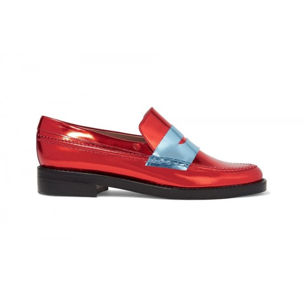Red Shiny Vegan Leather Trending Flat Penny Loafers for Women image 2