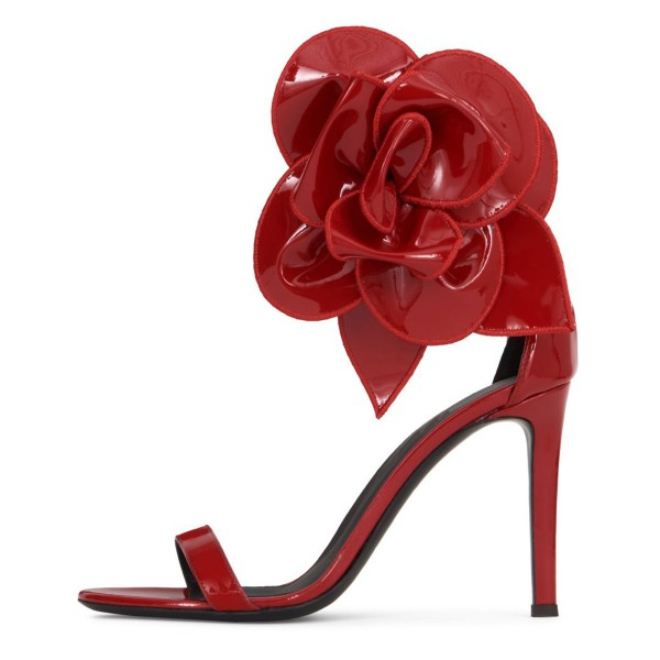 Red Patent Leather Flower Embellished Ankle Strap Evening Shoes image 2