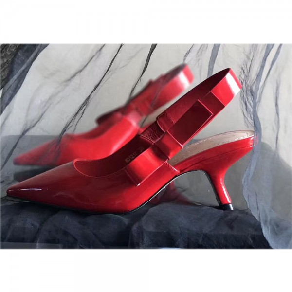 Red Patent Leather Slingback Heels Pointy Toe Pumps with Bow image 3