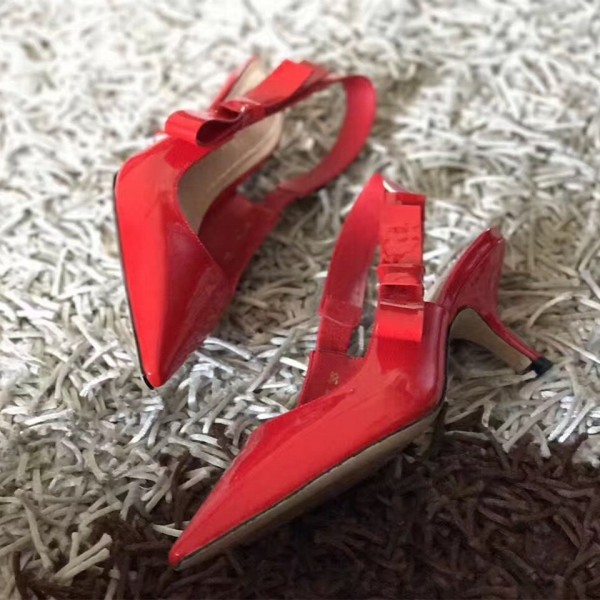 Red Patent Leather Slingback Heels Pointy Toe Pumps with Bow image 1