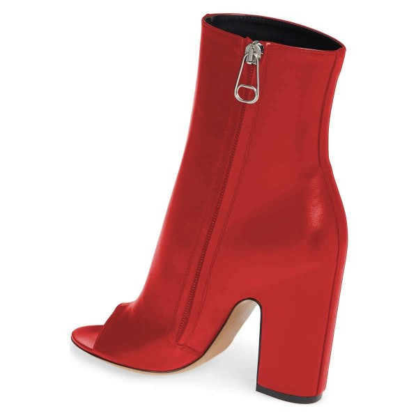 Red Peep Toe Booties Chunky Heel Ankle Boots image 3