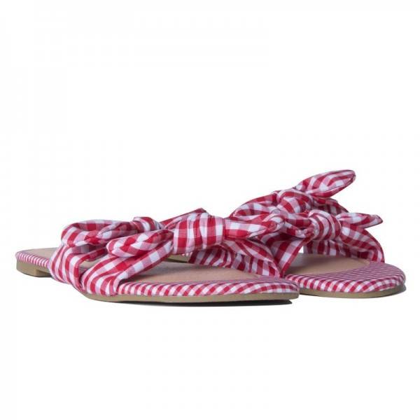 Red and White Plaid Women's Slide Sandals Open Toe Flat Bow Sandals image 2