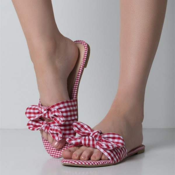 Red and White Plaid Women's Slide Sandals Open Toe Flat Bow Sandals image 1