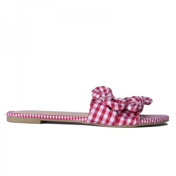Red and White Plaid Women's Slide Sandals Open Toe Flat Bow Sandals image 4