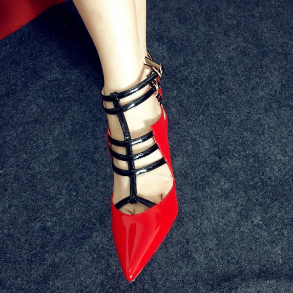 Red Pointy Toe Stiletto Heels T Strap Pumps Sexy Office Shoes image 1