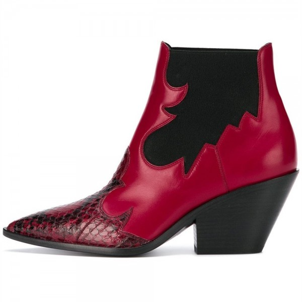Red Snakeskin Slip on Boots Pointy Toe Chunky Heel Ankle Boots image 2