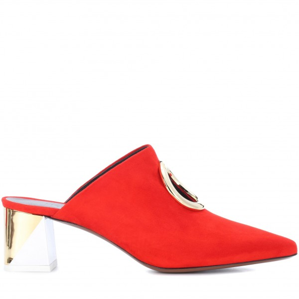 Red Round Toe Suede Hole Mule Block Heels US Size 3-15 image 2