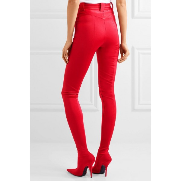 Red Fashion Boots Sexy Stiletto Heels Satin Legging Boots image 4