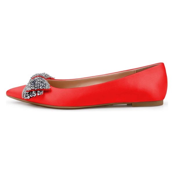 Red Satin Rhinestones Pointy Toe Comfortable Flats image 3