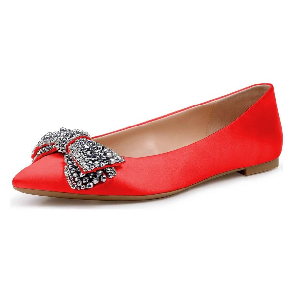 Red Satin Rhinestones Pointy Toe Comfortable Flats image 1