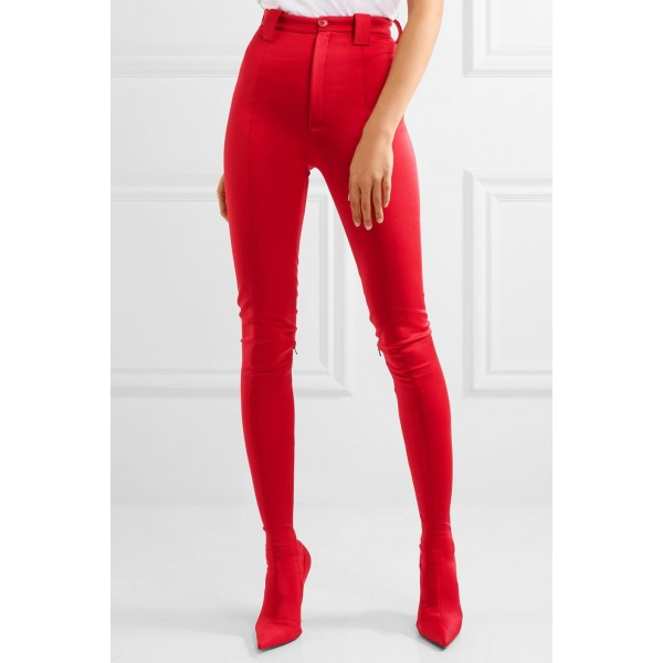 Red Fashion Boots Sexy Stiletto Heels Satin Legging Boots image 5