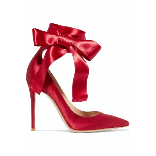 Red Strappy Heels Satin Pointy Toe Stiletto Heel Pumps for Prom image 5