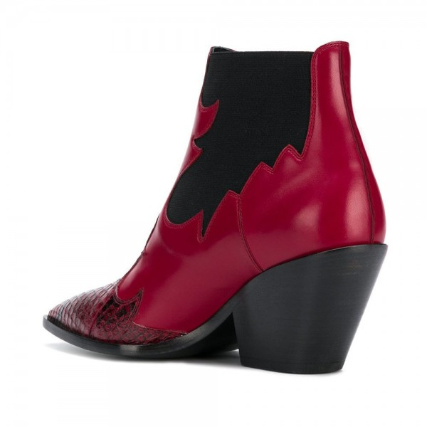 Red Snakeskin Slip on Boots Pointy Toe Chunky Heel Ankle Boots image 3