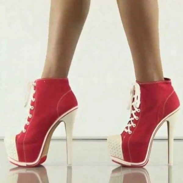 Red Lace up Heels Platform Sneakers for