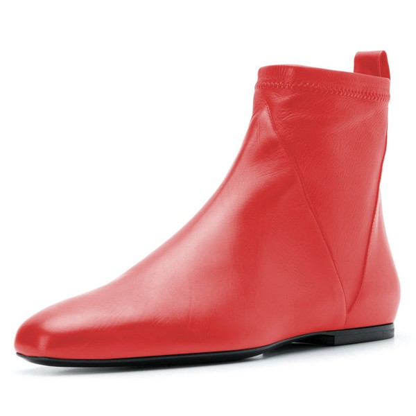 Red Flat Boots Fashion Square Toe Ankle