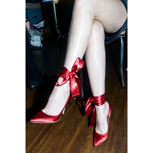 Red Strappy Heels Satin Pointy Toe Stiletto Heel Pumps for Prom image 3