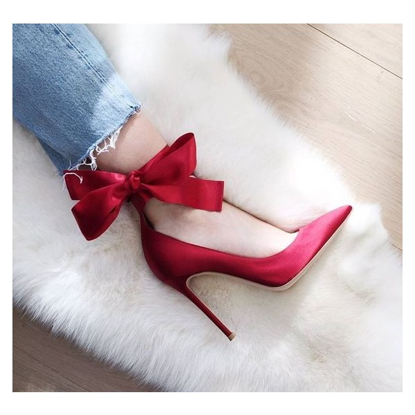 Red Strappy Heels Satin Pointy Toe Stiletto Heel Pumps for Prom image 2