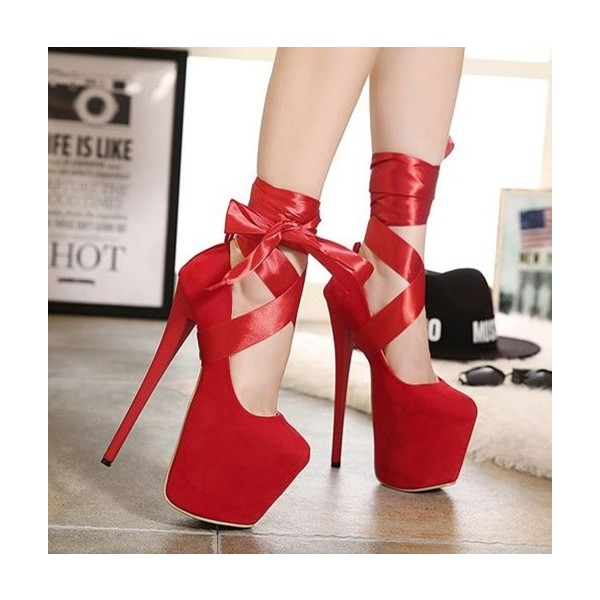 Red Stripper Heels Suede Lace up Platform Pumps High Heel Shoes image 4
