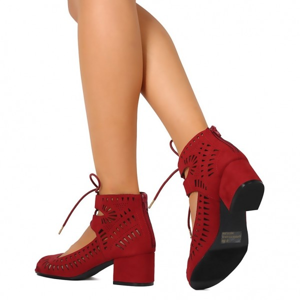 Red Suede Lace Up Hollow Out Peep Toe Block Heel Sandals image 2