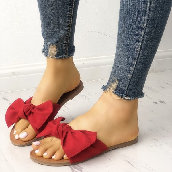 Red Summer Women's Slide Sandals Open Toe Flats with Bow image 1