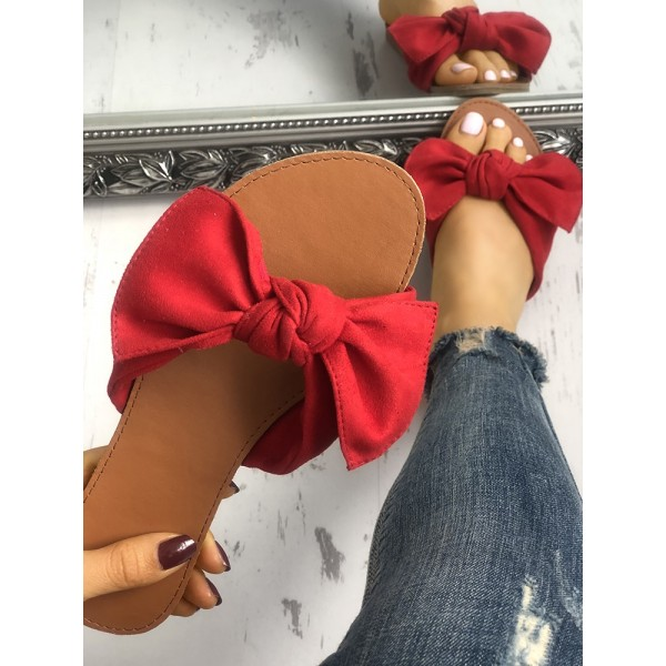 Red Summer Women's Slide Sandals Open Toe Flats with Bow image 3