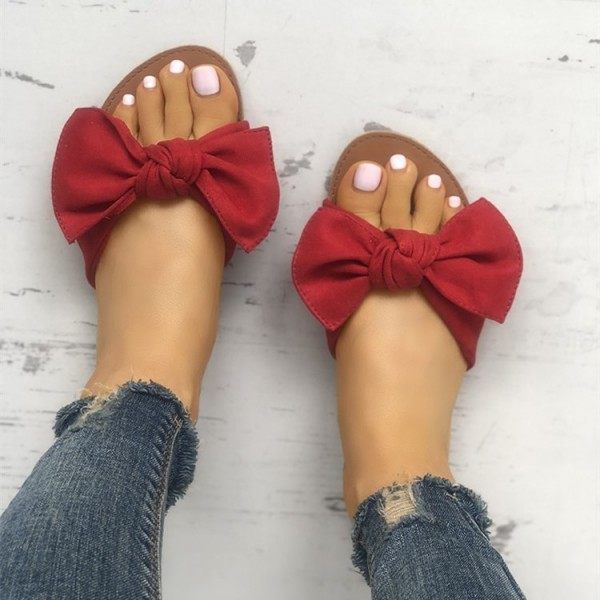 Red Summer Women's Slide Sandals Open Toe Flats with Bow image 2